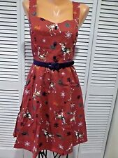 NWOT Cheerful Caroling Deer Dress Holiday Christmas Sz Small A-line REINDEER