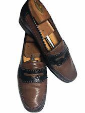 Mezlan Men's Brown/Black Perforated Leather/ Genuine Crocodile Loafers - 10 M