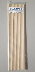 Birch Wood Dowel Rods - 1/4 x 12 inches - 12 Count Pieces - BLUE MASS