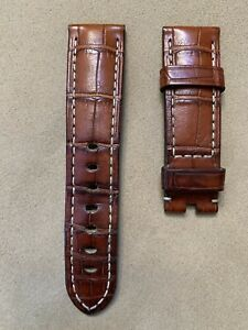 AUTH PANERAI 22mm x 20mm BROWN ALLIGATOR LEATHER STRAP BAND OEM FOR 42mm WATCH