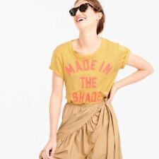 NWT J Crew Made in the Shade Yellow Pink Linen Tee T-Shirt XXS 2XS Blogger Fave
