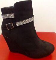 Damen Stiefel Stiefeletten mit Reißverschluss,Keilabsatz, Strass  Schwarz 36  38