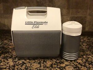 Little Playmate Elite Gray & White Vintage Flip Top Cooler By Igloo