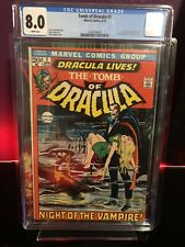 Tomb of Dracula 1 CGC 8.0 1st appearance of Dracula White Pages !
