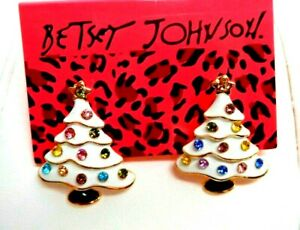 "Betsey Johnson WHITE ENAMEL CHRISTMAS TREE Multi Color CRYSTAL STUD Earrings 1+"""
