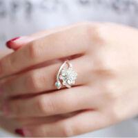 Lover Jewelry Wedding Elegant Fashion Ring Engagement Lotus Flower Open Ring