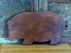 "Old Walnut Wood Farmhouse Fat PIG PIGGY Hanging Cutting board 16"" x  8 1/2"""