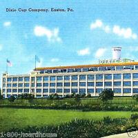10 Old 1930s DIXIE CUP Corporation Linen Postcard Pennsylvania PA Factory NOS
