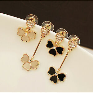 Asymmetric Flower Heart Stud Earrings  (black)