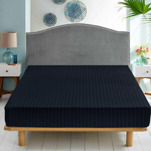 25 CM Deep Elastic Fitted Sheet Navy Blue Stripe Bed Sheet Double King Bed Sizes