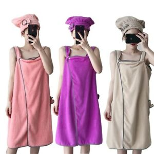 Wearable Bath Towels Superfine Fiber Solid Color Soft Absorbent Home Bathroom