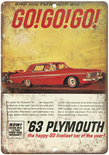 """1963 Plymouth GO! GO! GO! Vintage Ad 10"""" x 7"""" Reproduction Metal Sign"""