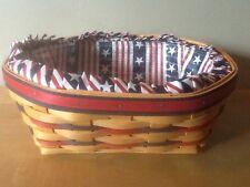 Longaberger 1999 All American Blue Ribbon Bread Basket w/ Liner & Protector