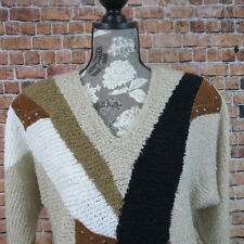 Le Chois Women Sweater Size Medium Brown Padded Shoulders
