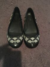 COACH Women's Size 6 Black Textile Patent Leather Signature Black Shoes Flats