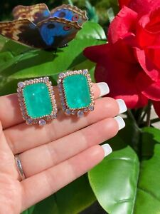 LARGE NATURAL GLOWING NEON COLOMBIAN EMERALD EARRINGS 18K GOLD VERMEIL STUDS
