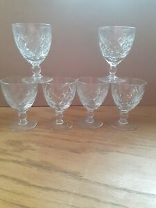 6 x Brierley Crystal Wine Glasses Goblets