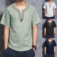 Retro Men's Casual Linen V neck Short Sleeve Ethnic Cotton Floral Shirt Tops UK
