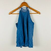 Seed Heritage Womens Tank Top Size 6 Blue Chambray Smock Top Good Condition