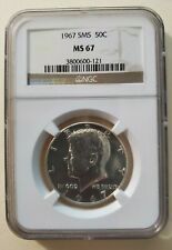 1967 NGC MS67 SPECIAL MINT SET KENNEDY HALF DOLLAR 40% SILVER EDGE VIEW HOLDER