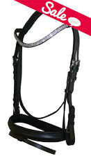NEW Pony English Dressage Show Bridle Clear Crystal U Curve Shape Browband Bling