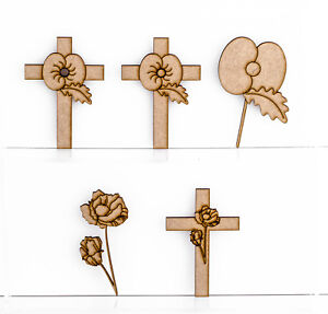 Wooden MDF Poppy Flower Cross Craft Shape 3mm Thick Poppies Remembrance Charity