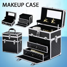 Portable Beauty Mirror Case Diamond Black Makeup Case Cosmetics Carry Box