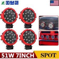 4PCS 7inch 51W Round LED Work Lights Spot Offroad Boat ATV SUV Truck Lamp Slim