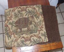 Pair of Brown Beige Elephant Print Decorative Print Throw Pillows  17 x 17