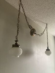 Ca 1969 Dual Hobnail Milk Glass Hanging Light Fixtures, chain swag lamp brass