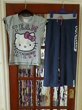 M & S Hello Kitty Girls Blue & Grey Pyjama Set 9-10 Years