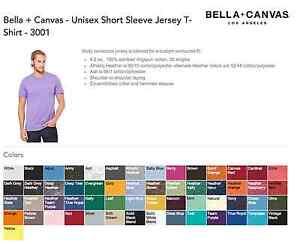 100 Bella Canvas Unisex T-Shirt 3001 Wholesale Bulk Lot ok to mix XS-XL & Colors