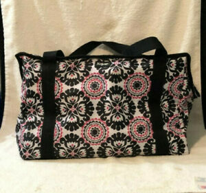 Thirty One Women's Black Red White Zip Up Insulated Thermal Cooler Tote Bag