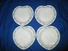4 Retro Barratts Delphatic Heart Shaped Cereal Fruit Soup Bowls Blue Roses #8755