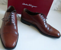 SALVATORE FERRAGAMO Italy Designer Mens Brown Oxford Brogue Lace Up Shoes Size 8