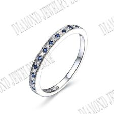 Solid 14K White Gold Round Natural Diamonds Sapphires Gemstone Band Ring Jewelry