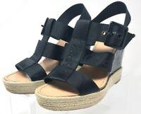 Coach Womens Espadrilles Wedge Platform Heels Shoes Black Adjustable Buckle 8