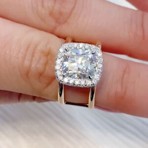 3.67 TCW Cushion Moissanite Unique Engagement Ring 14k Multi-Tone Gold Plated