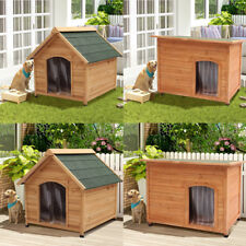 Wood Dog House Pet Shelter Large Kennels Weather Resistant Home Outdoor Ground