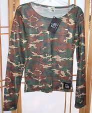 GIRLYZ Fashion For The Dirt Camo print mesh top size Small Womens NEW