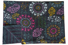 Black Kantha Quilt Throw Indian Queen Bed Spread Blanket Throw Bed Cover Bedding