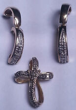 STERLING SILVER BOW CROSS WITH EARRINGS -GOLD TONED-BY PAJ