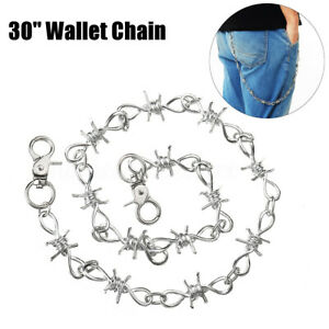 "26"" Silver Chrome Barb Wire Biker Trucker Jean Wallet Thick Heavy Chain Gothic"