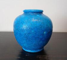 "SIGNED LACHENAL BLUE CRACKLE GLAZE VASE ~ 6"" FRANCE ART DECO POTTERY STONEWARE"