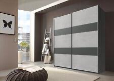 Qmax 'Chess' Sliding Door Wardrobe. Grey & Graphite - German Bedroom Furniture