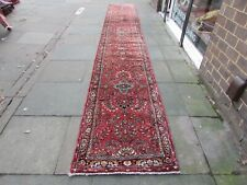Vintage Traditional Hand Made Oriental Red Pink Wool Very Long Runner 573x83cm