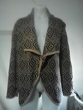 Gordon Smith Ladies Vintage Cardigan in a Black and Fawn Abstract Pattern Size M