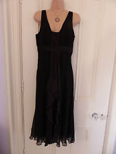 "Phase Eight UK 12 black silk sleeveless long silk ""scarf"" draped down the front"