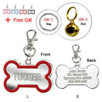 Personlised Bone Custom Dog Tags Engraved Cat Pet ID Tags Name ID with Bell