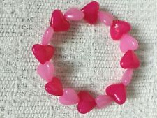 Two shades pink jelly glossy smooth heart acrylic bead stretch bracelet 7in